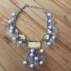Guess yellow/crystal/pearl statement necklace